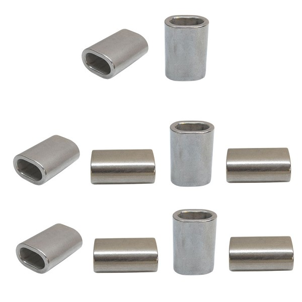 "10 Pc Marine Stainless Steel Wire Rope Cable Clip 1/4"" Oval Crimping Sleeve Tube Connector"