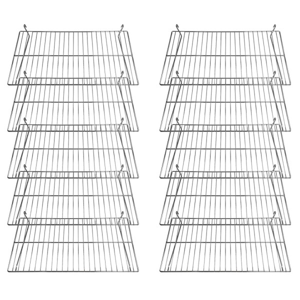 Gridwall Flat Display Shelf 24'' x 12'' Chrome 10 pcs