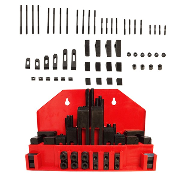 52 PC Clamping Kit T-Slot 1/2' End Clamp Flange Coupling Nut Step Block Set