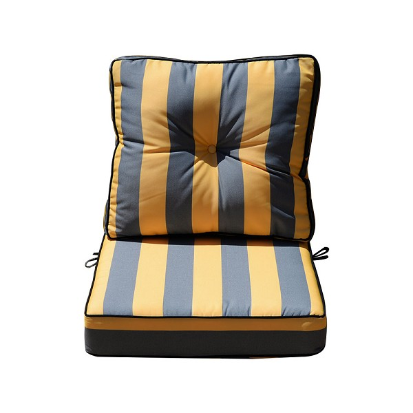 "24"" x 26"" x 6"" Silver/Gold Outdoor Deep Seat Cushion W/ Back Rest Pillow Set Polyester Water Repellent Double Pipe Trim"