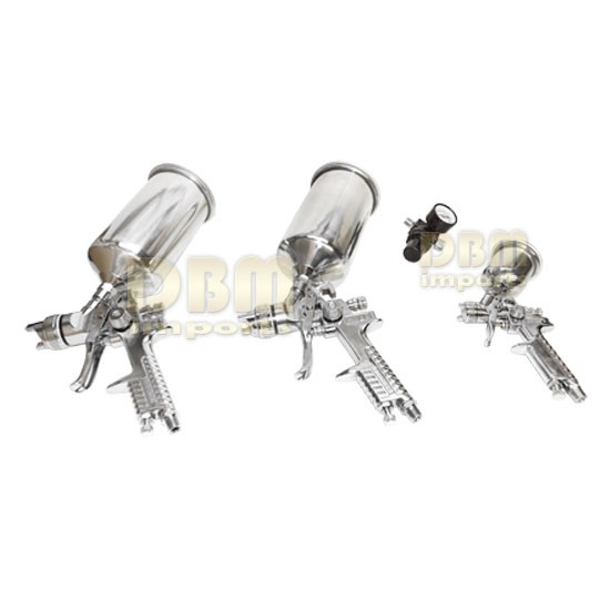 4 Pc HVLP Stainless Air Gravity Feed Spray Paint Gun New