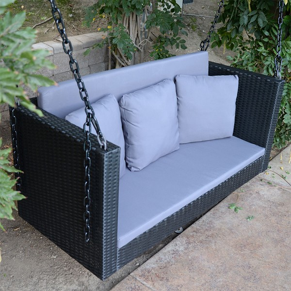 "57.5"" Black Wicker Porch Swing Outdoor Garden Furniture Patio Hanging Bench Hammock Backyard Chair"