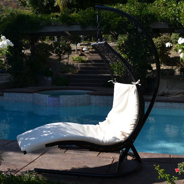 Black / Khaki Enclave Lounge Swing Bed Chair Weaved Wicker Rattan Hammock