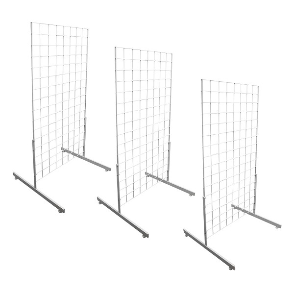 3 WHITE Gridwall Panel 4 Ft Tall Wire Grid Shelving Board T-Leg ...