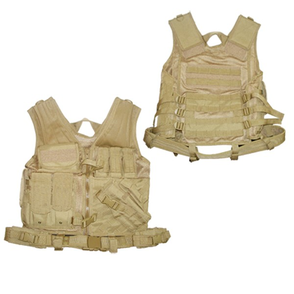 Tactical Cross-Draw Vest Pistol Holster Magazine Pouch w/ Belt  - TAN Coyote