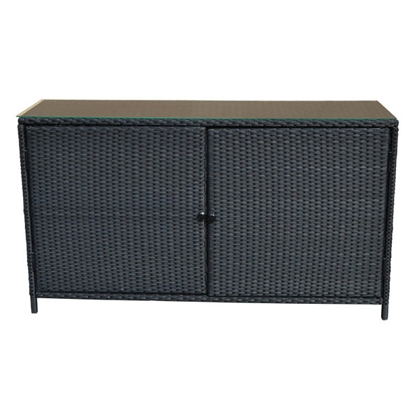 "59''x 34""x 18"" Wicker Sideboard Buffet Counter Pool Towel Storage Cabinet Black"